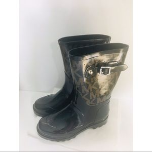 Michael Kors brown and black rain boots 6